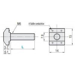 Boulons de fixation M6 pour profilés à fente de 8 mm