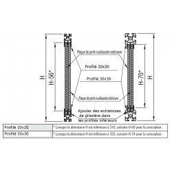 Profilé aluminium 20x20 fente de 6 mm pour panneau coulissant - 2 rangées