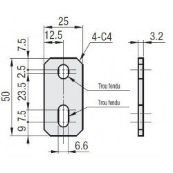 Plaque de fixation pour rail de glissière - fente de 8 mm