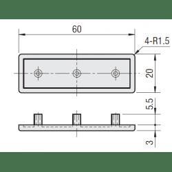 Embout de protection pour profilés 20x60 fente de 6mm - Noir