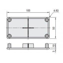 Embout de protection pour profilés aluminium 50x100 fente de 10mm - Gris