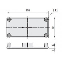 End Cap 50x100 10 mm slot profile - Grey