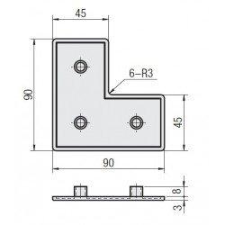 L-shape End Cap 90x90x45 10 mm slot profile - Black