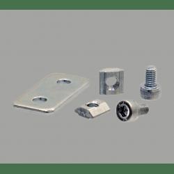 Plaque de fixation simple pour profilés 30x30 à fente de 8 mm - Avec visserie