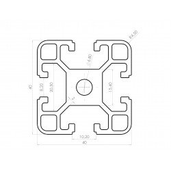 Aluminium profile 40x40 8mm slot I-Type