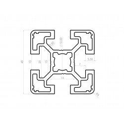 Aluminium profile 40x40 10mm slot – light