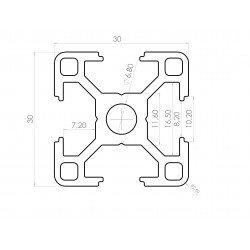 Aluminium profile 30x30 8mm slot – light version