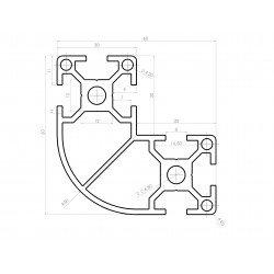Rounded L-shaped aluminium profile 60x60x30 – 8mm slot