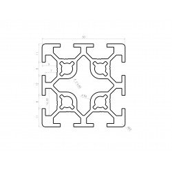 Aluminium profile 50x50 eight 8mm slots