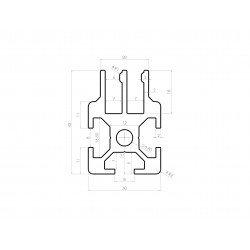 Profilé aluminium 30x30 fente de 8 mm pour panneau coulissant - 2 rangées