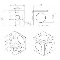 Raccord d'assemblage - 3 profilés 40x40 8 mm