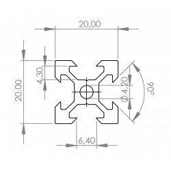 V-SLOT Aluminium profile 20x20 6mm slot - Black anodized