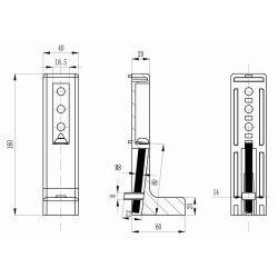 Support d'ancrage réglable 40x160