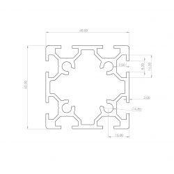 Aluminium profile 60x60 eight 8mm slots