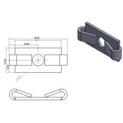 Plaquette anti-rotation pour profilés 40 fente 8 mm