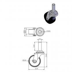 Roulette pour profilés à fente de 10 mm