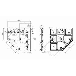 Platine d'adaptation pour pied et roulette - M12 - Entraxe 70mm