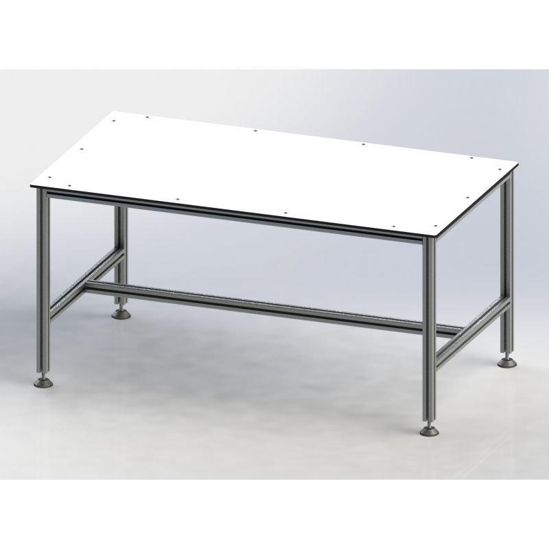 Plateau pour poste de travail - Stratifié compact HPL blanc épaisseur 10 mm